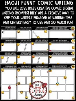 Emoji Back to School Writing Prompts- 3rd Grade, 4th Grade, 5th Grade