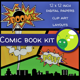 Comic book bundle: clip art, digital papers and layouts