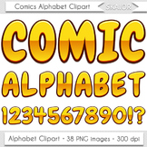 Comics Alphabet Clip Art Gold Letters Comic Book Text Supe