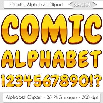 Comics Alphabet Clip Art Gold Letters Comic Book Text Supe