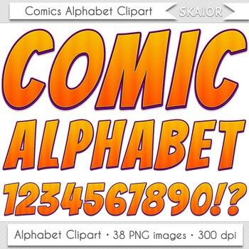 Comics Alphabet Clip Art Orange Letters Comic Book Text Superhero Clipart