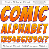 Comics Alphabet Clip Art Orange Letters Comic Book Text Su