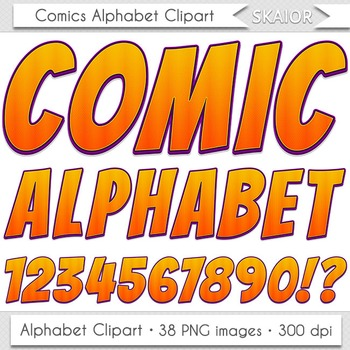 Comics Alphabet Clip Art Orange Letters Comic Book Text Su