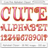 Christmas Alphabet Clip Art Pink Letters Comic Book Text C