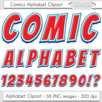 Comics Alphabet Clip Art Red Blue Letters Comic Book Text Superhero Clipart