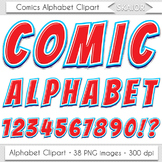 Comics Alphabet Clip Art Red Blue Letters Comic Book Text