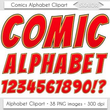 Comics Alphabet Clip Art Red Letters Numbers Text Superhero Clipart