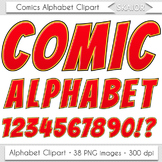 Comics Alphabet Clip Art Red Letters Numbers Text Superher