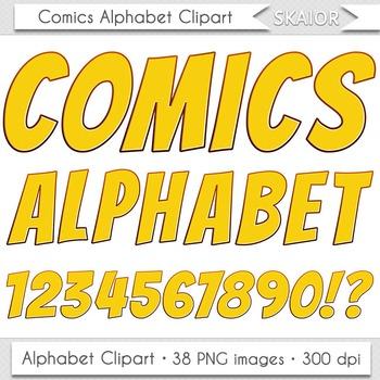 Comics Alphabet Clip Art Yellow Letters Numbers Text Superhero Clipart