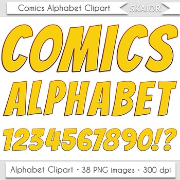 Comics Alphabet Clip Art Yellow Letters Numbers Text Super