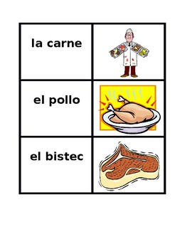 Comida (Food in Spanish) Vocabulary Concentration games