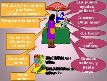 Comida (Food in Spanish) En el Mercado PowerPoint