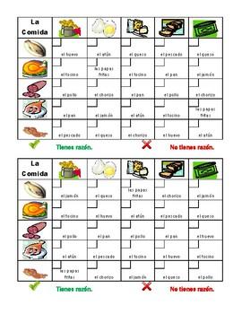 Comida (Food in Spanish) Grid vocabulary activity