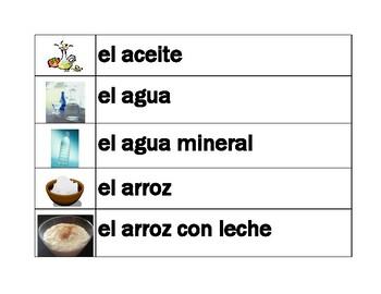 Comida (Food in Spanish) word wall