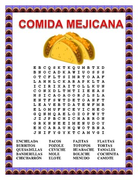 "Mexican Food-Web Search & Word Search & Label ""El Mariachi""-Cinco de Mayo"
