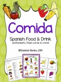 Comida - Spanish Food & Drink MEGA BUNDLE worksheets, flashcards
