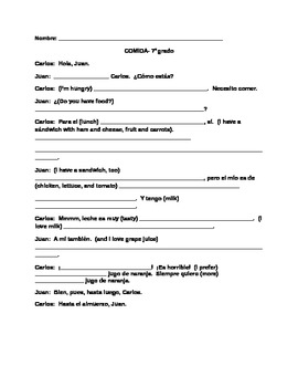 Comida - conversation fill in the blank worksheet (FOOD)