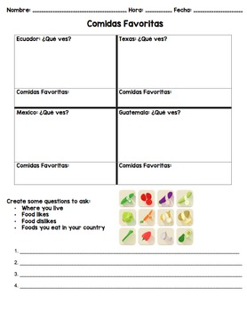 Comida del Mundo: Cultural Presentation, Graphic Organizer, & Speaking Activity