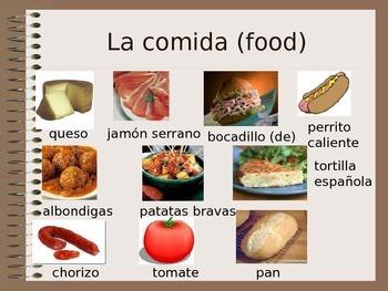 Comida y Bebida - Food & Drink PPT - teaching aid