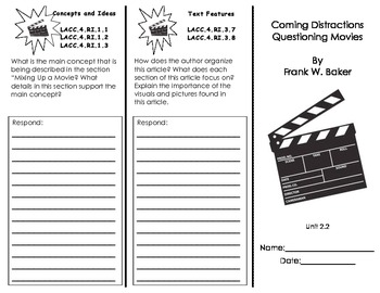 Coming Distractions Questioning Movies Common Core Trifold