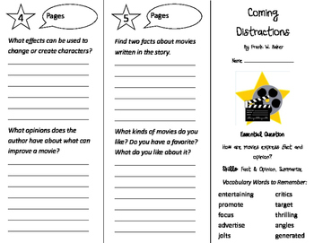 Coming Distractions Trifold - Journeys 4th Grade Unit 2 Week 2 (2011)