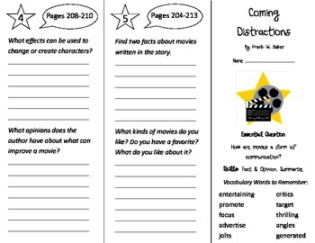 Coming Distractions Trifold - Journeys 4th Grade Unit 2 Week 2 (2014, 2017)
