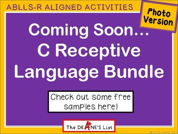 Coming Soon...ABLLS-R C Bundle Photo Version with Free Product Samples