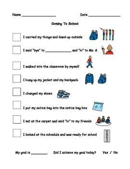 Coming To School Behaviour Checklist