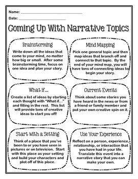 Coming Up With Narrative Topics