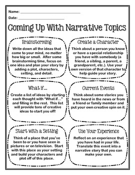 Coming Up With Narrative Topics 2