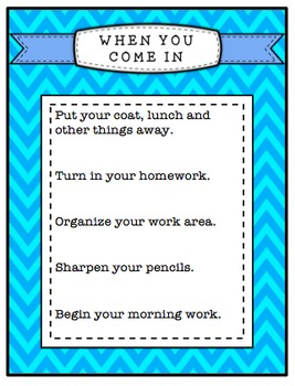 Coming and Going Posters to Remind Students of What Materials They Need