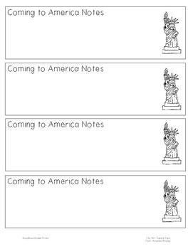 Coming to America Notetaking Bookmark