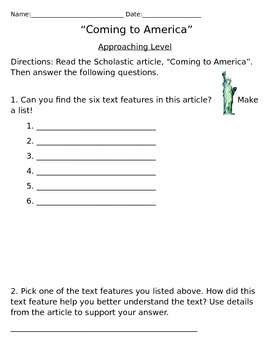 """""""Coming to America"""" Scholastic Magazine Leveled Questions"""