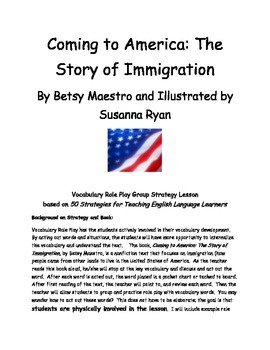 Coming to America by Betsy Maestro Vocabulary Role Play St