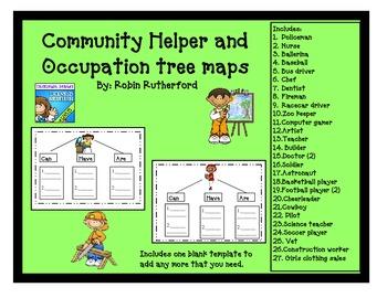 Community  helper tree maps- graphic organizers