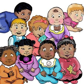 CommUNITY BABIES 18 pc. Clip-Art Set! BW and Color!