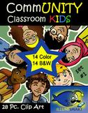 CommUNITY Classroom Kids: Set 1 (28 Piece Clip-Art of Diverse School Kids!)