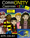 CommUNITY Classroom Kids: Set 2 (28 Piece Clip-Art of Diverse School Kids!)