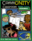 CommUNITY Classroom Middle School Science Set: 36 pc. Clip Art!