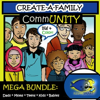 "CommUNITY ""Create-a-Family"" Bundle 122pc. Clip-Art Set! BW and Color!"