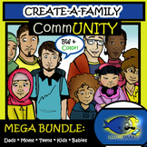 "CommUNITY ""Create-a-Family"" Bundle 122pc. Clip-Art Set! BW and Color!"