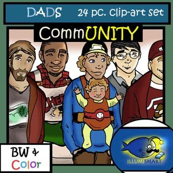 CommUNITY DADS/Men 24pc. Clip-Art Set! BW and Color!