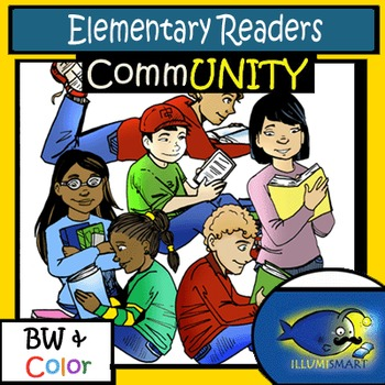 CommUNITY Elementary Readers: 12 pc. Clip-Art Set! BW & Color