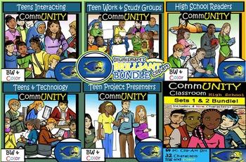 CommUNITY High School BUNDLE: 142 pc. Clip-Art Set! BW & Color