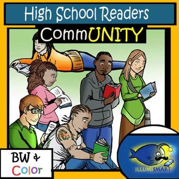 CommUNITY High School Readers: 12 pc. Clip-Art Set! BW & Color
