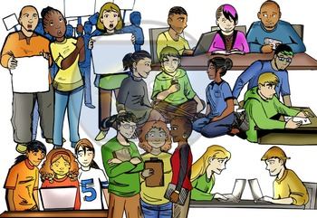 CommUNITY High School Teen Work & Study Groups: 14 pc. Clip-Art Set! BW & Color