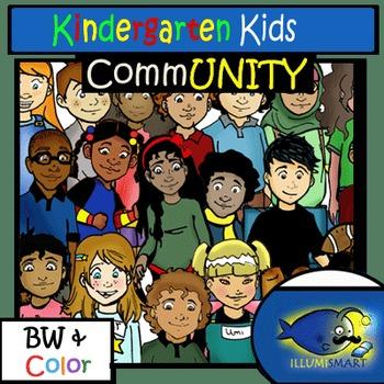 CommUNITY Kindergarten Kids: 56 pc. Clip-Art (BW/Color!)