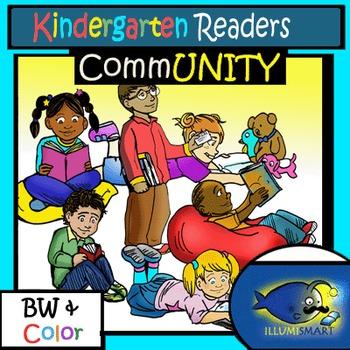 CommUNITY Kindergarten Readers: 12 pc. Clip-Art Set! BW & Color