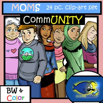 CommUNITY MOMS/Women 24pc. Clip-Art Set! BW and Color!