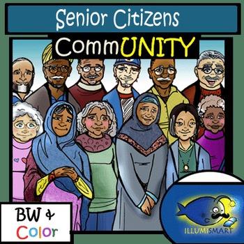 CommUNITY: Senior Citizens 24 pc. BW & Color Clip-Art Set